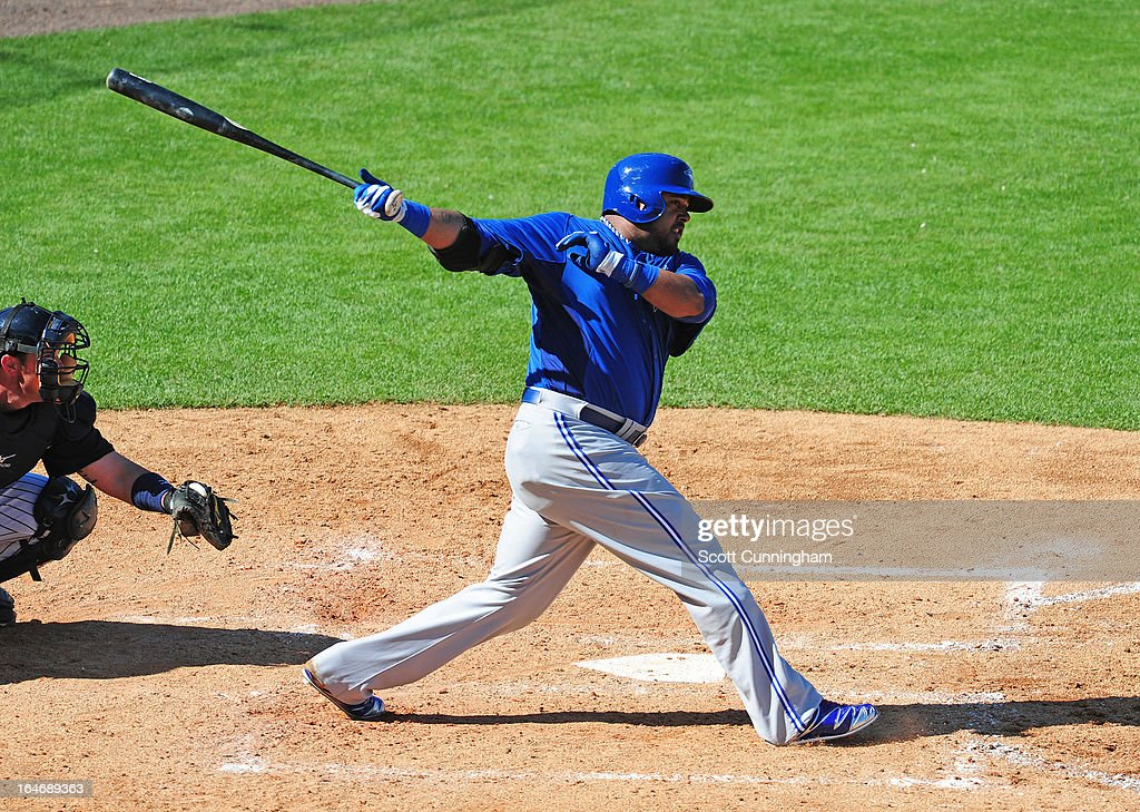 Luis Jiminez of the Toronto Blue Jays hits during a spring training game against the New York Yankees at George M Steinbrenner Field on February 28...