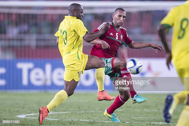 Luis Leal dos Anjos of Sao Tome e Principe Yunus Abdelhamid of Morocco during the Africa Cup of Nations match between Morocco and Sao Tome E Principe...