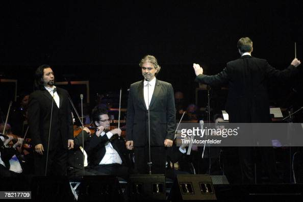 Luis Ledesma Andrea Bocelli and Steven Mercurio peform in support of Andrea's 'Vivere The Best of Andrea Bocelli' release at HP Pavilion on December...