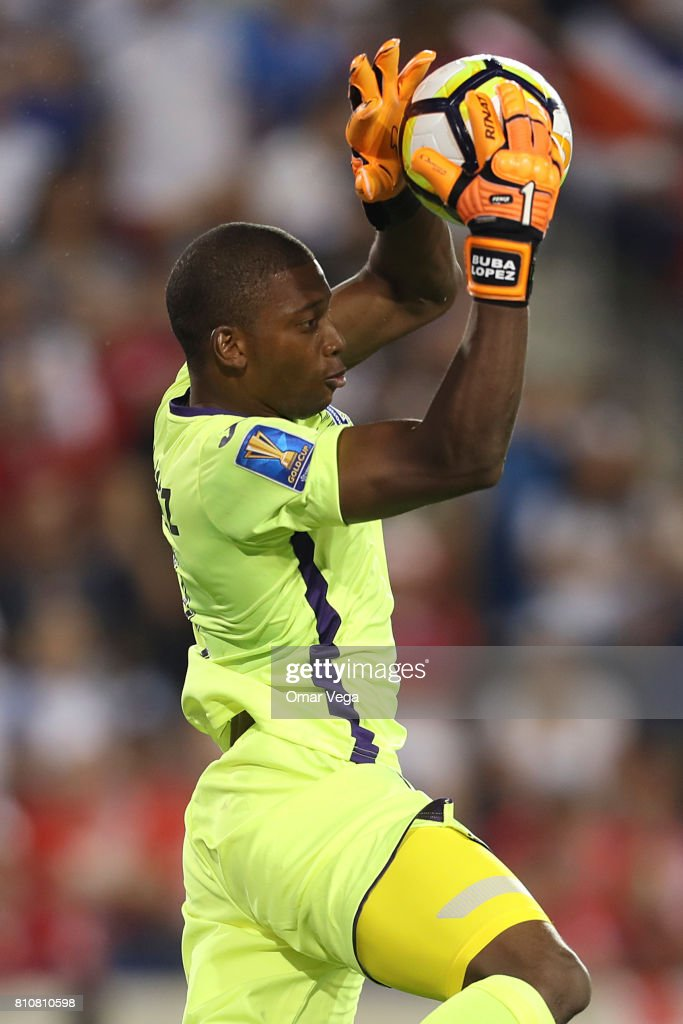Luis Lopez goalkeeper of Honduras catches the ball in the air during the Group A match between Honduras and Costa Rica as part of the Gold Cup 2017 at Red Bull Arena on July 07, 2017 in Harrison, New Jersey.