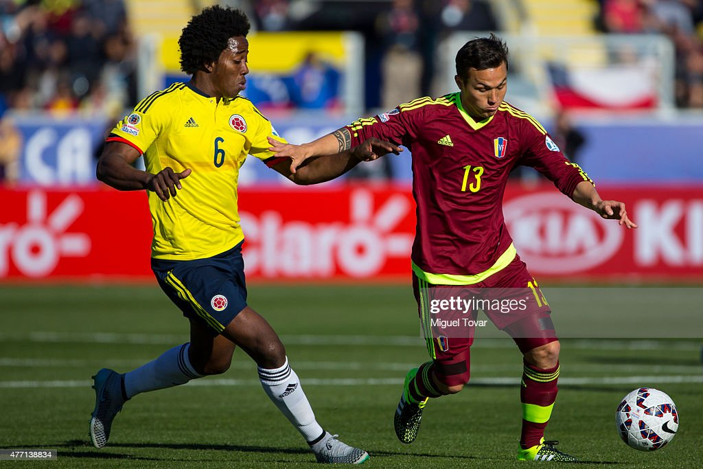 Luis Manuel Seijas of Venezuela fights for the ball with Carlos Sanchez of Colombia during the 2015 Copa America Chile Group C match between Colombia and Venezuela at El Teniente Stadium on June 14, 2015 in Rancagua, Chile.