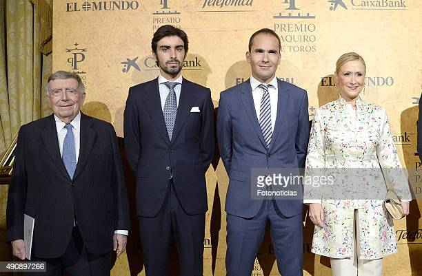 Luis Maria Anson Miguel Angel Perera guest and Cristina Cifuentes attend the 'Paquiro' Bullfight Award Ceremony at The Ritz Hotel on October 1 2015...