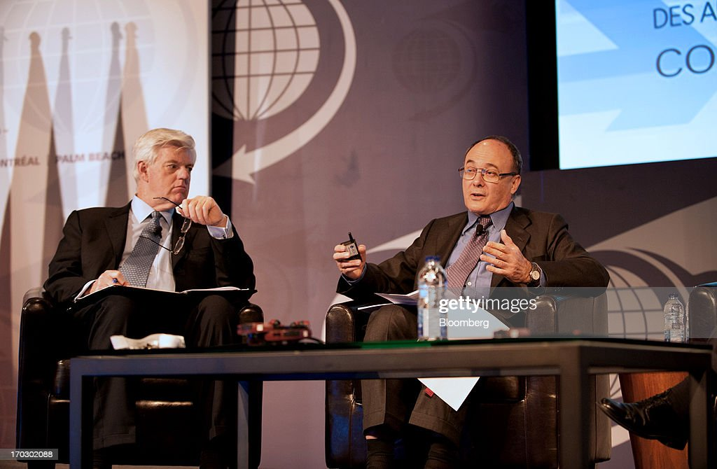 Luis Maria Linde governor of the Bank of Spain left speaks while John Manley president and chief executive officer of the Canadian Council of Chief...