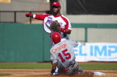 Luis Mateo of Puerto Rico and Miguel Tejeda of Republica Dominicana during the Caribbean Series Baseball 2013 in Sonora Stadium on february 2 2013 in...
