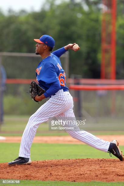 Luis Mateo of the Mets delivers a pitch to the plate during the Gulf Coast League game between the Marlins and the Mets on July 21 at the New York...