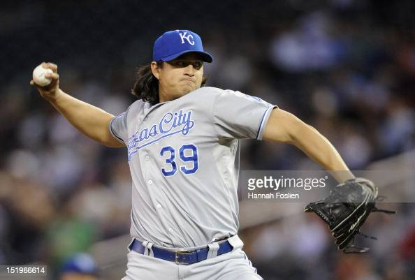 Luis Mendoza of the Kansas City Royals delivers a pitch against the Minnesota Twins during the first inning on September 13 2012 at Target Field in...