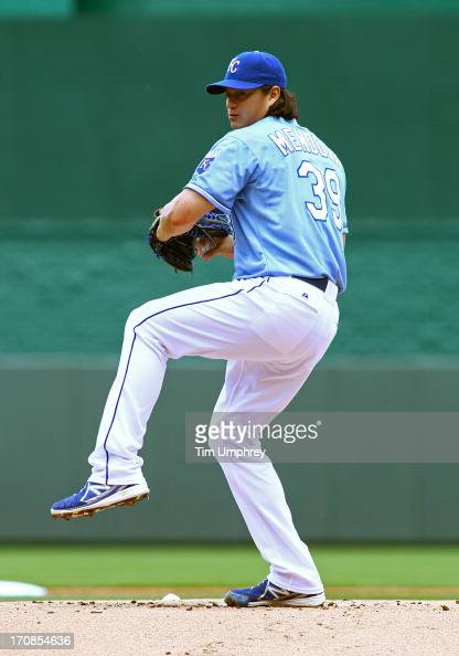 Luis Mendoza of the Kansas City Royals pitches against the Houston Astros at Kauffman Stadium on June 9 2013 in Kansas City Missouri The Royals...