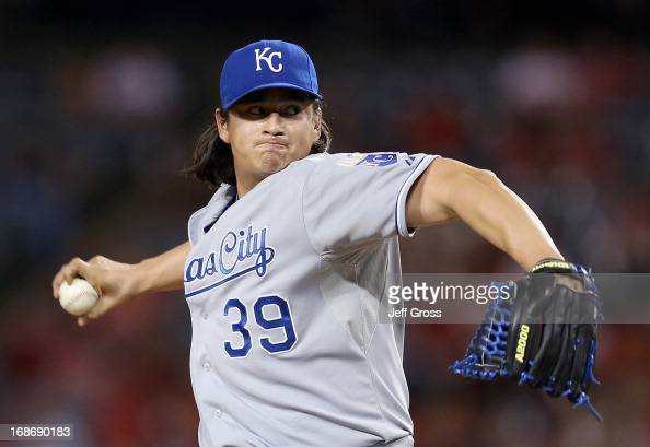 Luis Mendoza of the Kansas City Royals pitches against the Los Angeles Angels of Anaheim in the fourth inning at Angel Stadium of Anaheim on May 13...