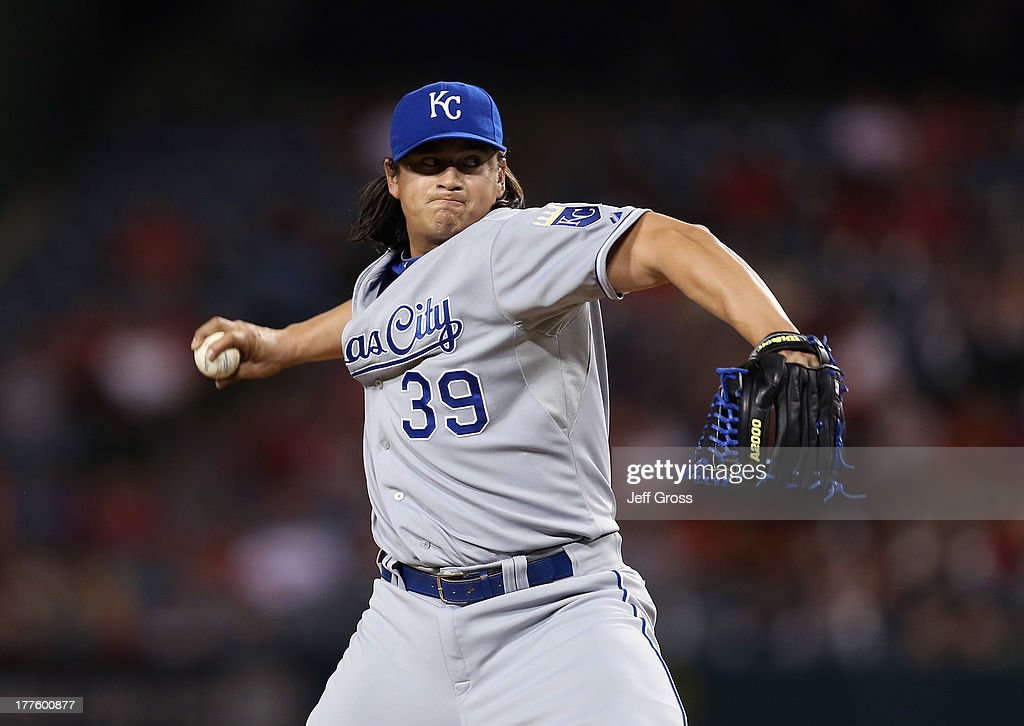 Luis Mendoza of the Kansas City Royals pitches against the Los Angeles Angels of Anaheim at Angel Stadium of Anaheim on May 13 2013 in Anaheim...