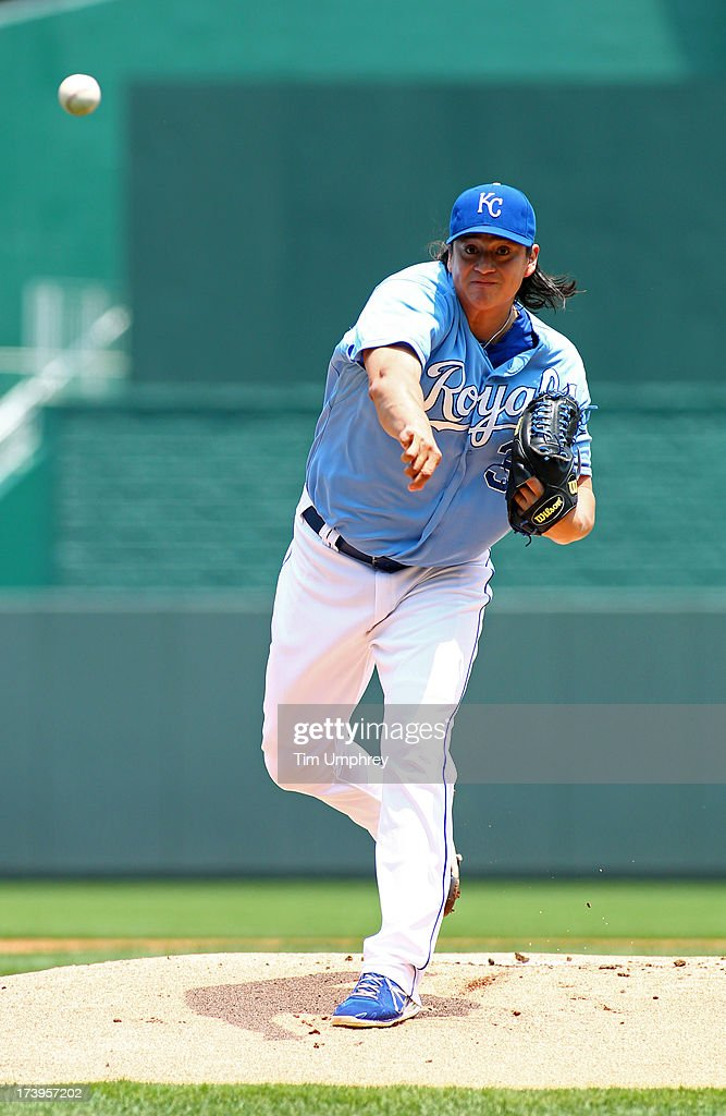 Luis Mendoza of the Kansas City Royals pitches against the Oakland Athletics at Kauffman Stadium on July 7 2013 in Kansas City Missouri The Athletics...