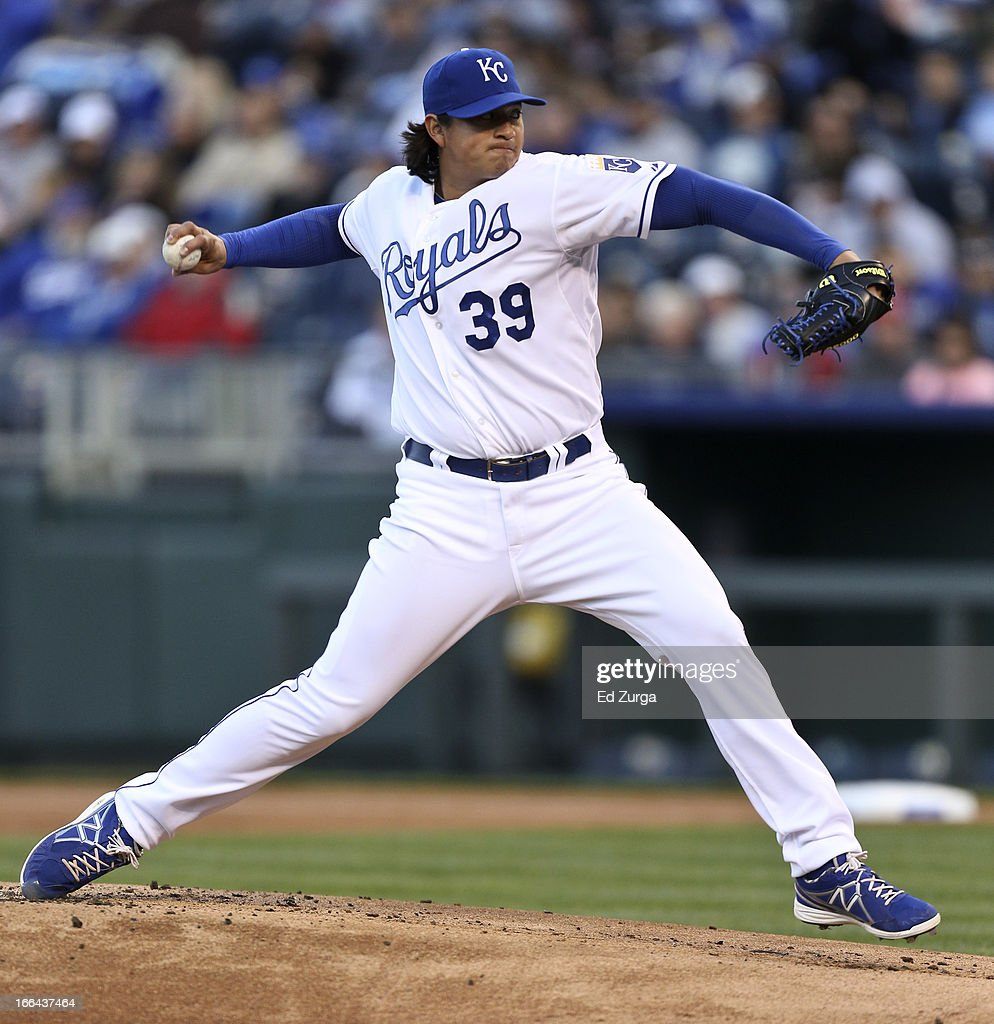 Luis Mendoza of the Kansas City Royals pitches against the Toronto Blue Jays in the first inning at Kauffman Stadium April 12 2012 in Kansas City...