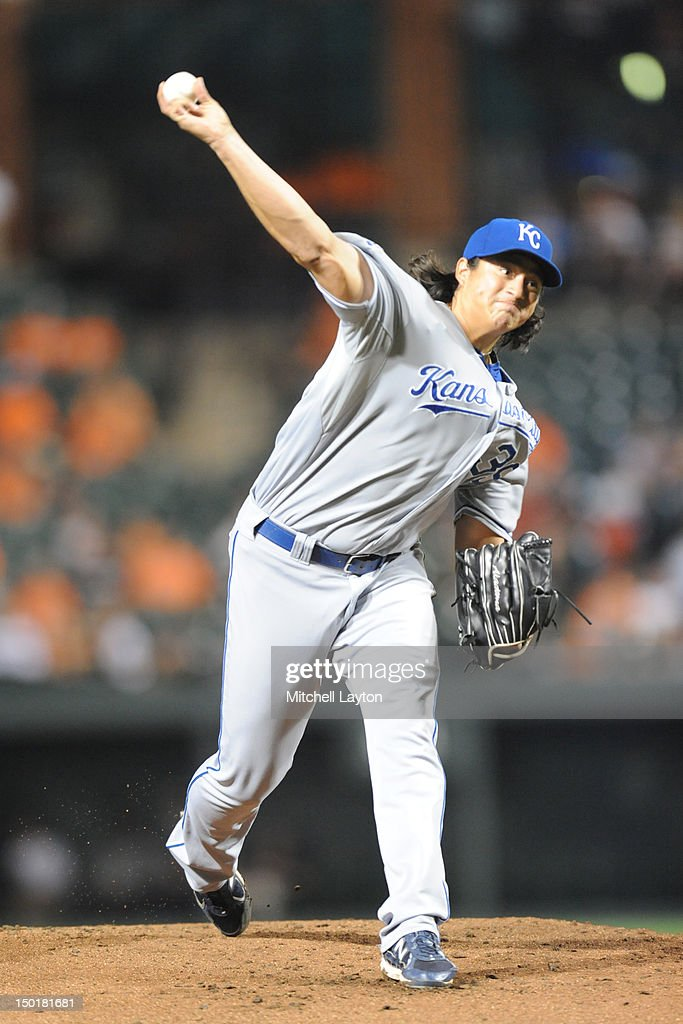Luis Mendoza #39 of the Kansas City Royals pitches during a baseball game against the Baltimore Orioles on August 11, 2012 at Oriole Park at Camden Yards in Baltimore, Maryland.