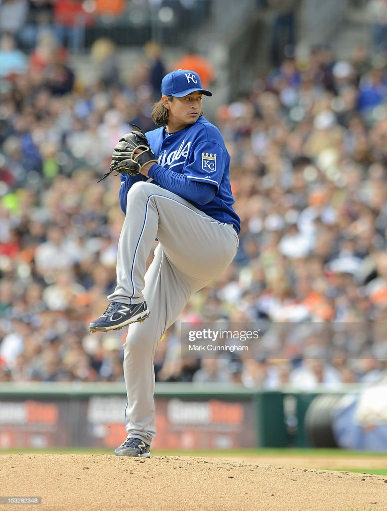 Luis Mendoza of the Kansas City Royals pitches during the game against the Detroit Tigers at Comerica Park on September 27 2012 in Detroit Michigan...