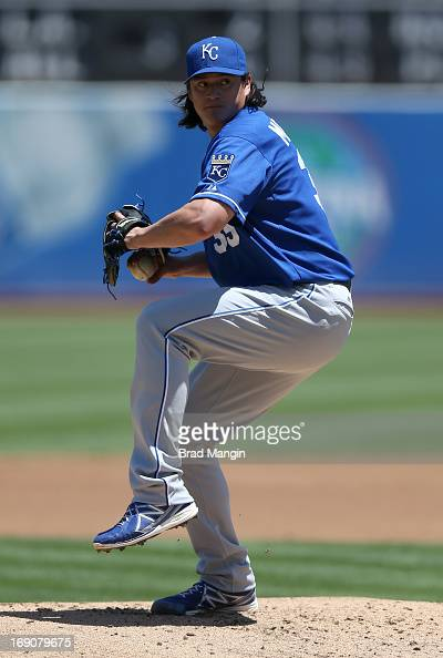 Luis Mendoza of the Kansas City Royals pitches during the game against the Oakland Athletics at Oco Coliseum on Sunday May 19 2013 in Oakland...