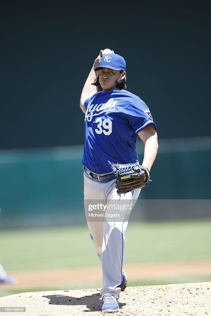 Luis Mendoza of the Kansas City Royals pitches during the game against the Oakland Athletics at Oco Coliseum on May 19 2013 in Oakland California The...