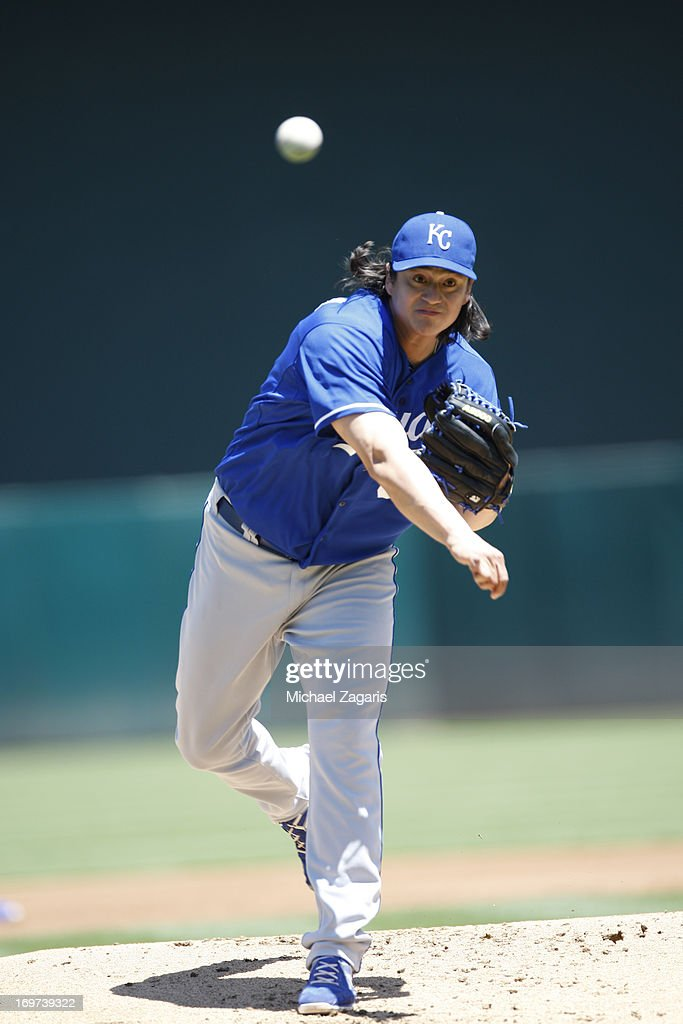<a gi-track='captionPersonalityLinkClicked' href=/galleries/search?phrase=Luis+Mendoza+-+Baseball+Player&family=editorial&specificpeople=9657658 ng-click='$event.stopPropagation()'>Luis Mendoza</a> #39 of the Kansas City Royals pitches during the game against the Oakland Athletics at O.co Coliseum on May 19, 2013 in Oakland, California. The Athletics defeated the Royals 4-3.