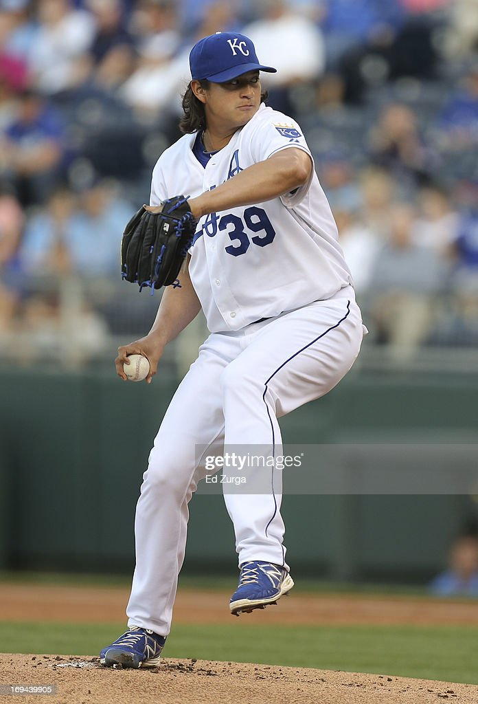 Luis Mendoza of the Kansas City Royals pitches in the first inning against the Los Angeles Angels of Anaheim at Kauffman Stadium on May 24 2012 in...