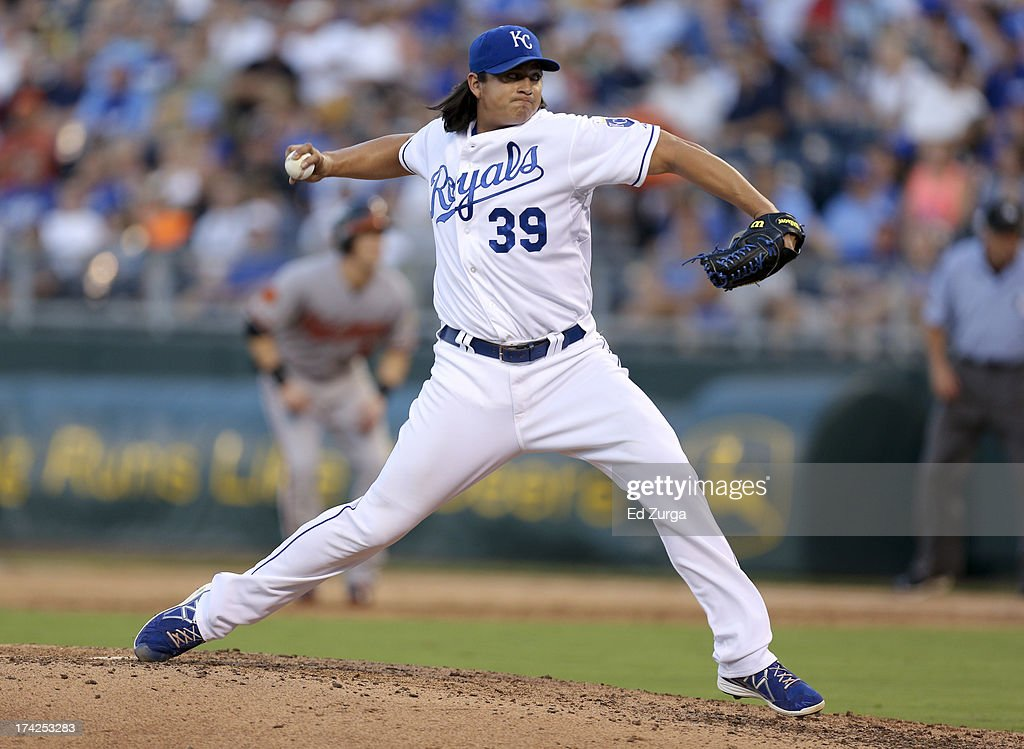 <a gi-track='captionPersonalityLinkClicked' href=/galleries/search?phrase=Luis+Mendoza+-+Baseball+Player&family=editorial&specificpeople=9657658 ng-click='$event.stopPropagation()'>Luis Mendoza</a> #39 of the Kansas City Royals throws in the third inning during a game against the Baltimore Orioles at Kauffman Stadium on July 22, 2013 in Kansas City, Missouri.