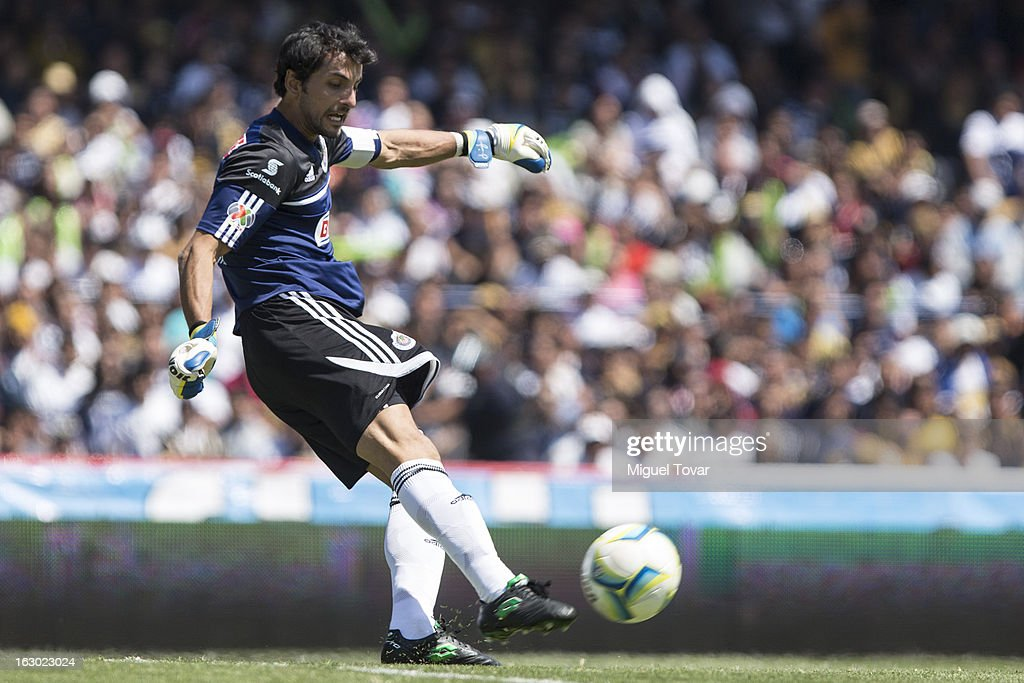 Luis Michel goalkeeper of Chivas in action during a match between Pumas and Chivas as part of Clausura 2013 Liga MX at Olympic Stadium on March 03, 2013 in Mexico City, Mexico.
