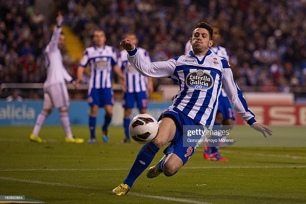 Luis Miguel Afonso Pizzi of RC Deportivo La Coruna chases the ball during the La Liga match between RC Deportivo La Coruna and Real Madrid CF at Riazor Stadium on February 23, 2013 in La Coruna, Spain.