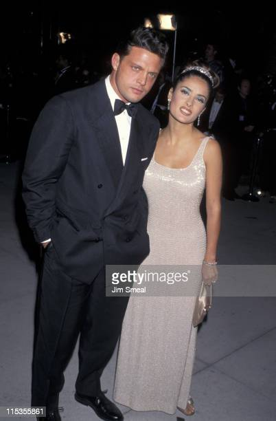 Luis Miguel and Salma Hayek during 1997 Vanity Fair Oscar Party Arrivals at Morton's Restaurant in Beverly Hills California United States