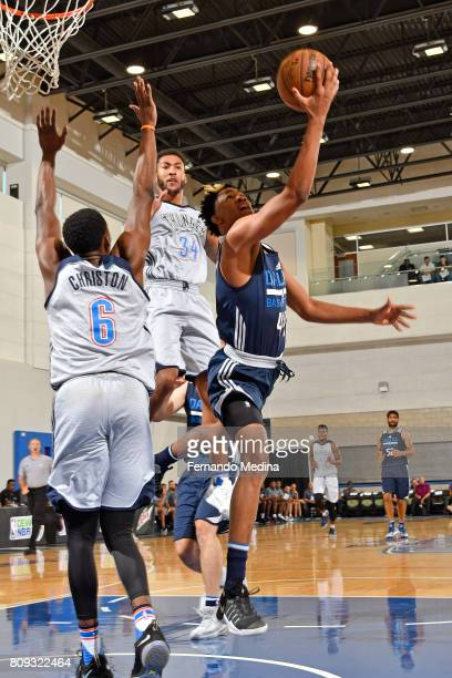 Luis Montero of the Dallas Mavericks drives to the basket against the Oklahoma City Thunder during the Mountain Dew Orlando Pro Summer League on July...