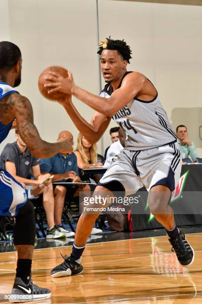Luis Montero of the Dallas Mavericks drives to the basket and looks to pass the ball against the Detroit Pistons during the Mountain Dew Orlando Pro...