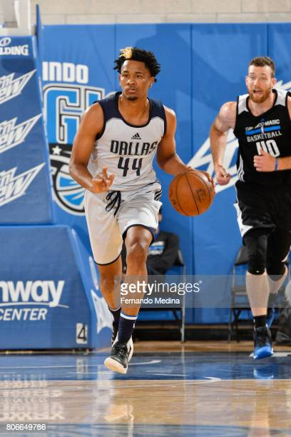 Luis Montero of the Dallas Mavericks handles the ball against the Orlando Magic on July 3 2017 during the 2017 Summer League at Amway Center in...