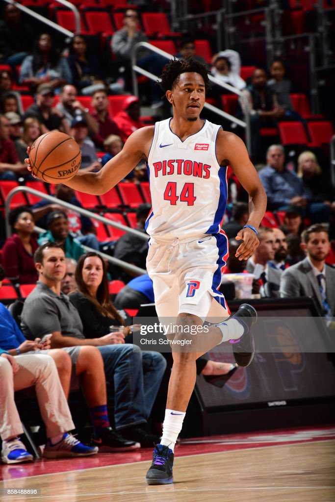 Luis Montero #44 of the Detroit Pistons handles the ball against the Atlanta Hawks on October 6, 2017 at Little Caesars Arena in Detroit, Michigan.