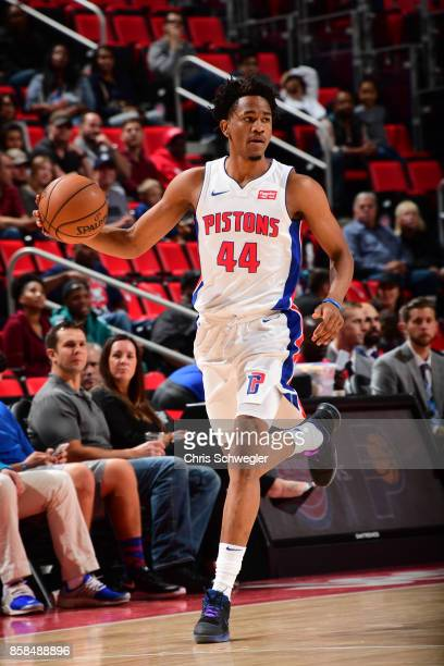 Luis Montero of the Detroit Pistons handles the ball against the Atlanta Hawks on October 6 2017 at Little Caesars Arena in Detroit Michigan NOTE TO...