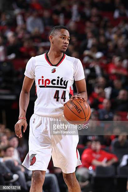 Luis Montero of the Portland Trail Blazers dribbles the ball against the Cleveland Cavaliers on December 26 2015 at the Moda Center Arena in Portland...