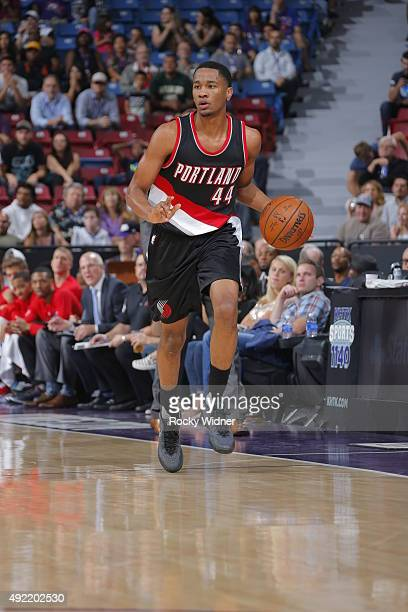 Luis Montero of the Portland Trail Blazers drives to the basket against the Sacramento Kings on October 10 2015 at Sleep Train Arena in Sacramento...