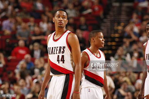 Luis Montero of the Portland Trail Blazers during the preseason game against the Sacramento Kings on October 5 2015 at the Moda Center Arena in...