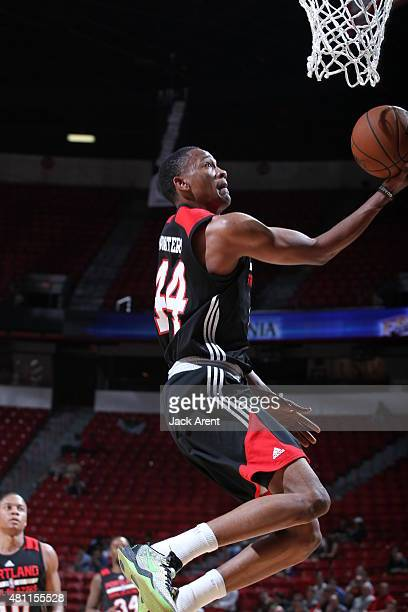 Luis Montero of the Portland Trail Blazers goes to the basket against the Toronto Raptors on July 17 2015 at the Thomas Mack Center in Las Vegas...