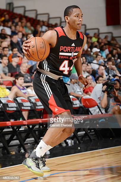 Luis Montero of the Portland Trail Blazers handles the ball against the Dallas Mavericks on July 12 2015 at the Cox Pavilion in Las Vegas Nevada NOTE...