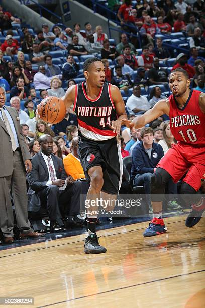 Luis Montero of the Portland Trail Blazers handles the ball during the game against the New Orleans Pelicans on December 23 2015 at the Smoothie King...