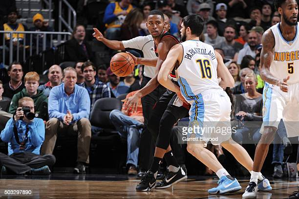 Luis Montero of the Portland Trail Blazers handles the ball during the game against the Denver Nuggets on January 3 2016 at the Pepsi Center in...