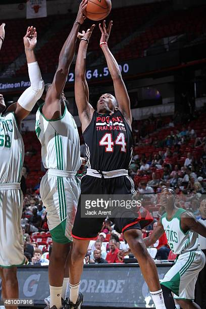 Luis Montero of the Portland Trail Blazers jumps for the rebound against the Boston Celtics during the game on July 16 2015 at Thomas And Mack Center...