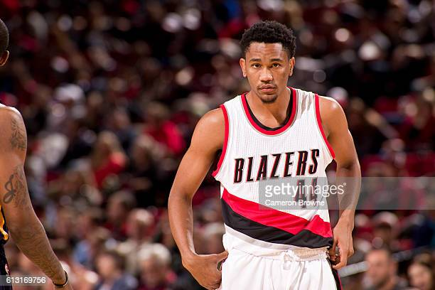 Luis Montero of the Portland Trail Blazers looks on during a game against the Utah Jazz on October 3 2016 at the Moda Center Arena in Portland Oregon...