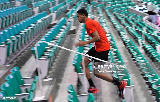 Luis Montero of the Portland Trail Blazers runs stairs before the Trail Blazers take on the Utah Jazz at Vivint Smart Home Arena on November 4 2015...