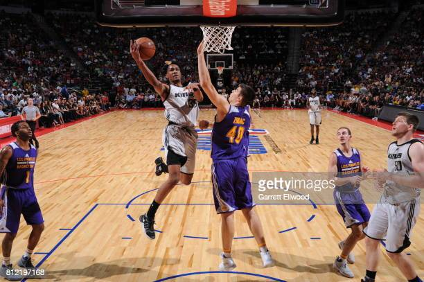 Luis Montero of the Sacramento Kings goes to the basket against the Los Angeles Lakers on July 10 2017 at the Thomas Mack Center in Las Vegas Nevada...
