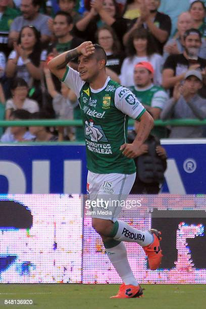 Luis Montes of Leon celebrates after scoring the second goal of his team during the 9th round match between Leon and Pachuca as part of the Torneo...