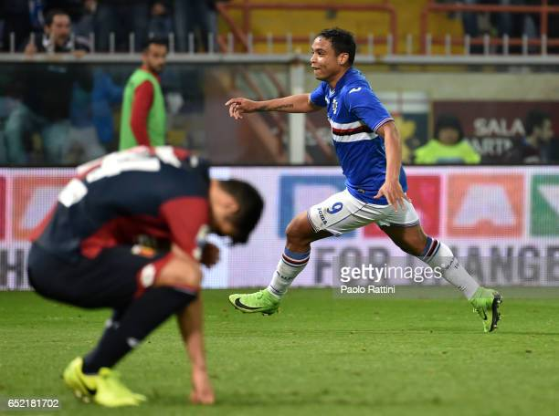 Luis Muriel celebrates after goal 01 disappointment players of Genoa during the Serie A match between Genoa CFC and UC Sampdoria at Stadio Luigi...