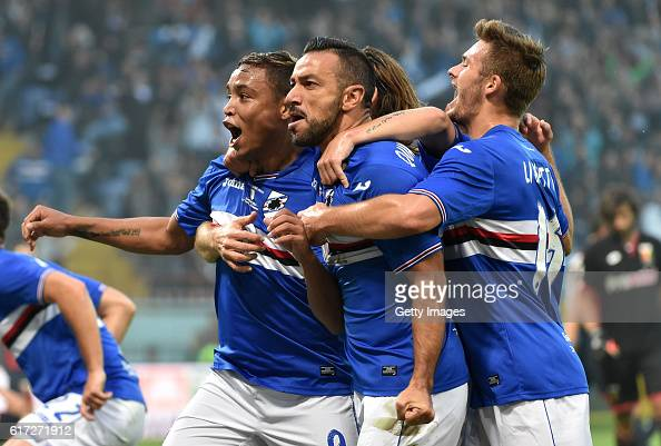 Luis Muriel celebrates after scoring goal 10 during the Serie A match between UC Sampdoria and Genoa CFC at Stadio Luigi Ferraris on October 22 2016...
