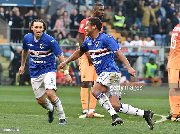 Luis Muriel celebrates after scoring goal 32 during the Serie A match between UC Sampdoria and AS Roma at Stadio Luigi Ferraris on January 29 2017 in...