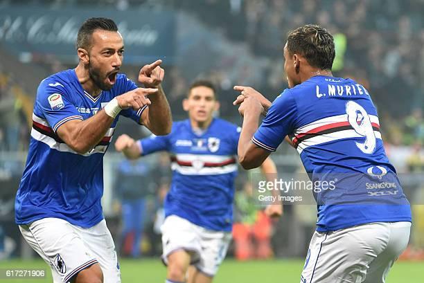 Luis Muriel celebrates after scoring gol 10 during the Serie A match between UC Sampdoria and Genoa CFC at Stadio Luigi Ferraris on October 22 2016...