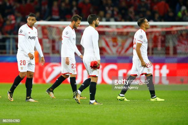 Luis Muriel Franco Vazquez Ever Banega and Gabriel Mercado of Sevilla are seen dejected after the goal of Spartak Moscow during the UEFA Champions...