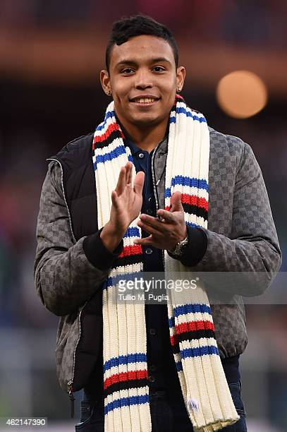 Luis Muriel greets supporters after the Serie A match between UC Sampdoria and US Citta di Palermo at Stadio Luigi Ferraris on January 25 2015 in...