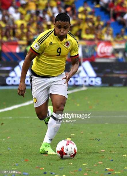 Luis Muriel of Colombia drives the ball during a match between Colombia and Bolivia as part of FIFA 2018 World Cup Qualifiers at Metropolitano...