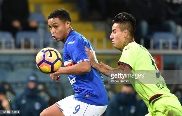 Luis Muriel of Sampdoria and Erick Pulgar of Bologna during the Serie A match between UC Sampdoria andv Bologna FC at Stadio Luigi Ferraris on...
